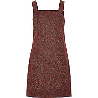 Red herringbone pinafore dress