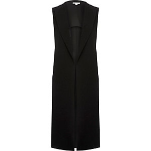 Black sleeveless duster jacket