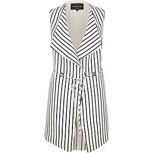 Navy stripe print sleeveless jacket
