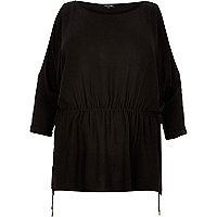 RI Plus black cold shoulder t-shirt