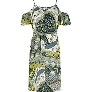 RI Plus yellow floral cold shoulder dress