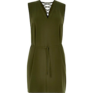 RI Plus khaki lace-up swing dress