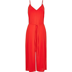 Red tied culotte jumpsuit