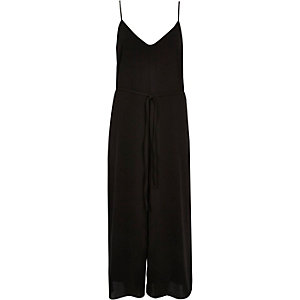 Black tied culotte jumpsuit