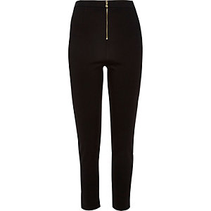 Black structured tube pants