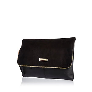 Black soft foldover clutch bag