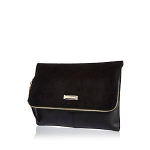 Black soft foldover clutch