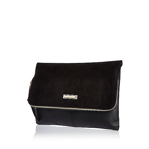 Black soft foldover clutch bag