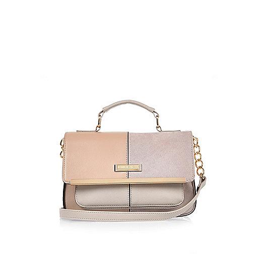 Grey panel satchel bag
