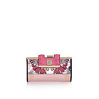 Pink '70s print cliptop purse