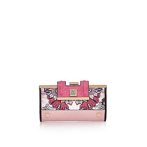 Pink '70s print cliptop purse