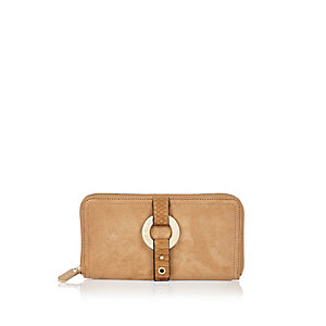 Camel faux suede ring detail purse