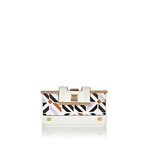 White geometric print clip top purse