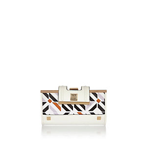 White geometric print clip top purse