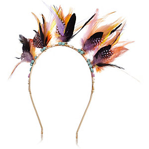 Yellow feather hairband