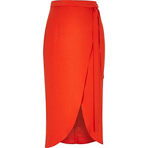 Red midi wrap skirt