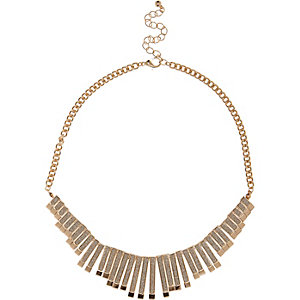 Gold tone glitter repeater necklace