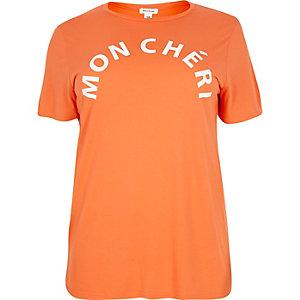 RI Plus orange slogan print t-shirt