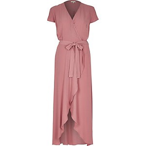Pink waterfall maxi dress