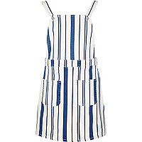 White stripe dungaree dress