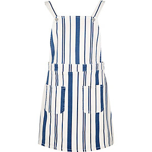 White stripe overall dress