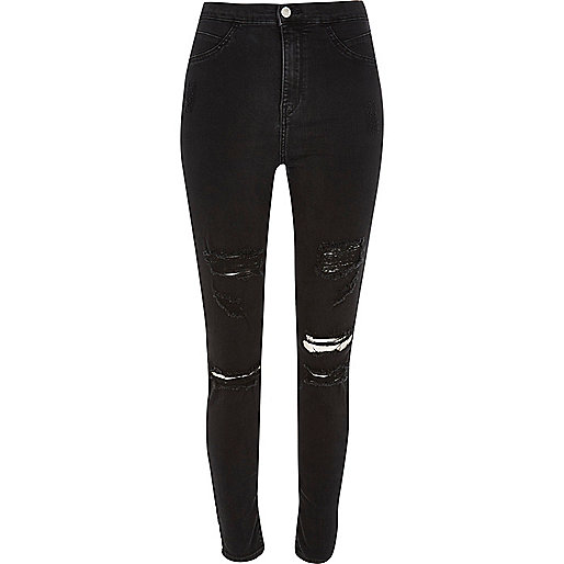 Black distressed high rise Molly jeggings