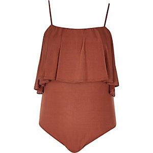 RI Plus orange frill bodysuit