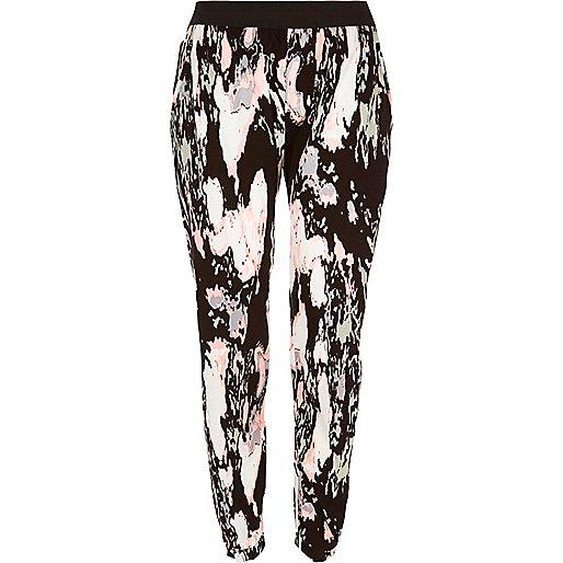 Pantalon de jogging imprimé marbré noir