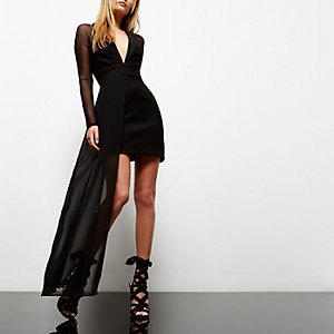 Black mesh hem plunge dress
