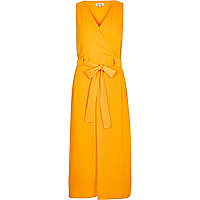 Orange belted midi dress
