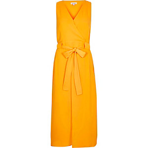 Orange belted midi dress