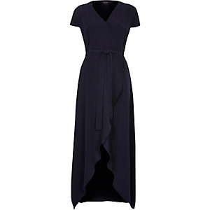 Navy waterfall maxi dress
