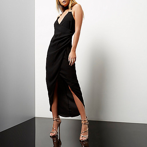 Black ruched wrap maxi dress