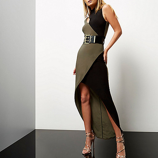 Khaki color block asymmetric maxi dress
