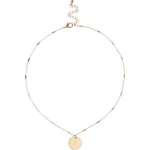 Gold tone N inital necklace
