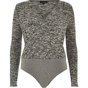 Grey marl wrap bodysuit