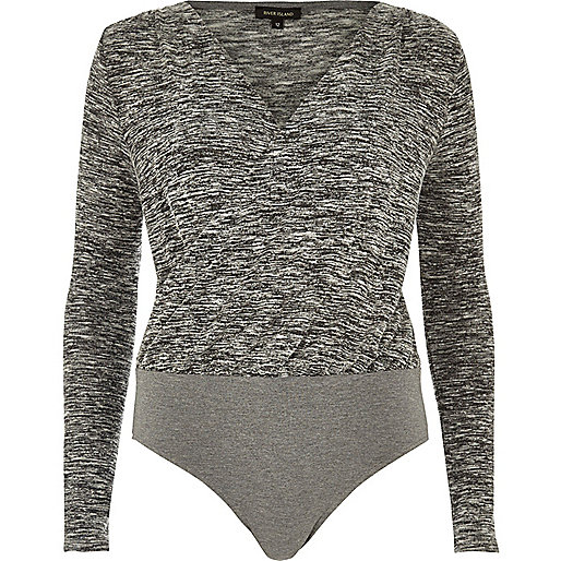 Grey marl wrap bodysuit