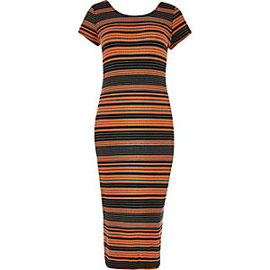 RI Plus orange stripe print midi dress