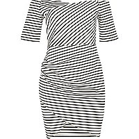 RI Plus black stripe bardot dress