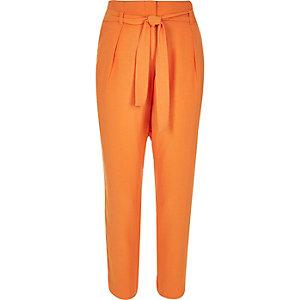 Orange soft tie waist tapered trousers