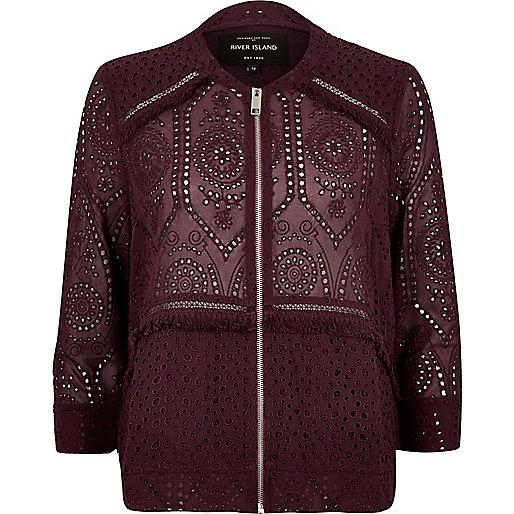 Dark red crochet bomber jacket