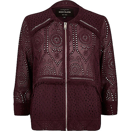 Dark red crochet bomber jacket
