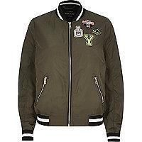 Khaki badge bomber jacket