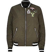 Khaki badge bomber jacket