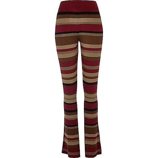 Pantalon évasé en maille côtelée rayé rouge