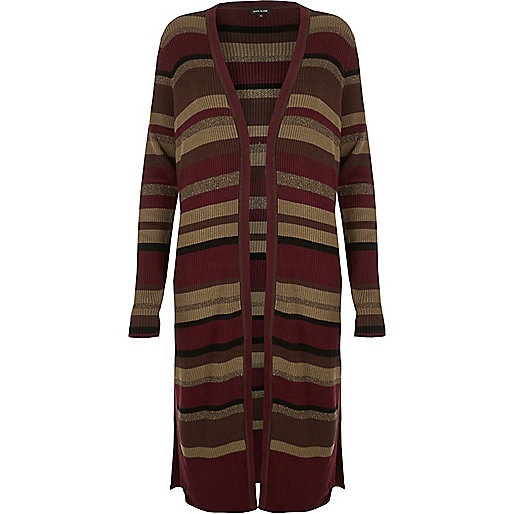 Red stripe knit longline cardigan