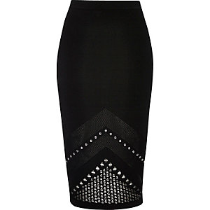 Black studded mesh knit pencil skirt