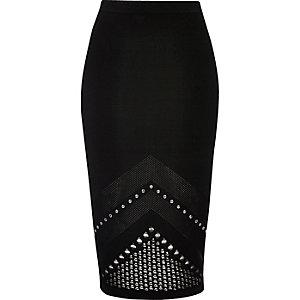 Black studded mesh knit pencil skirt