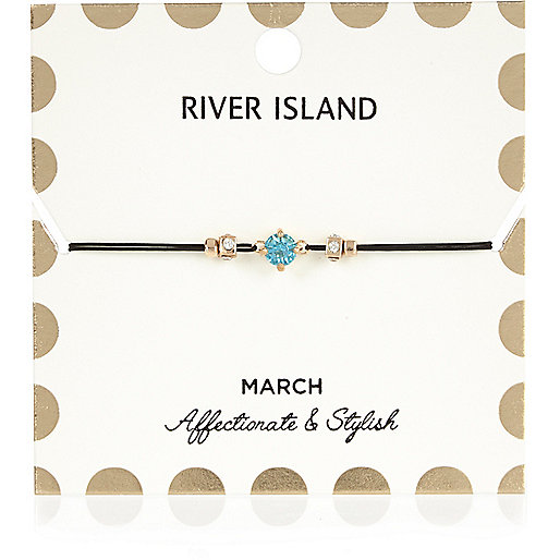 Bracelet bleu avec pierre de naissance mois de mars