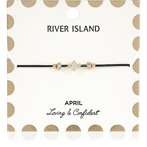 Bracelet blanc avec pierre de naissance mois d'avril